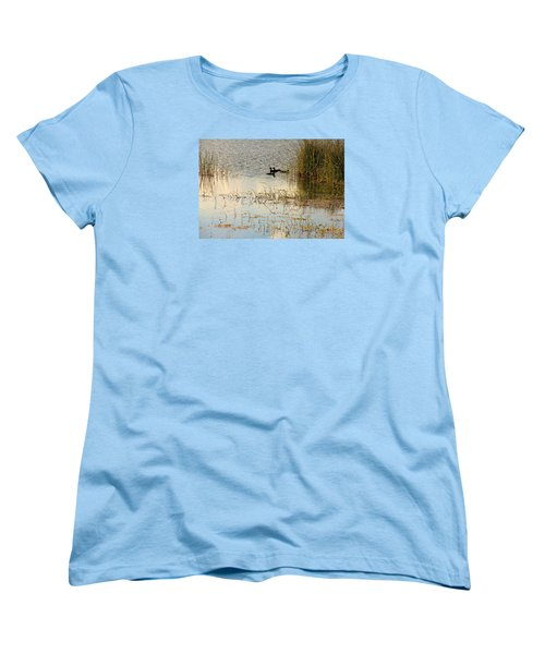 Women's T-Shirt (Standard Cut) featuring the photograph Moorhens In The Marsh by Rosalie Scanlon