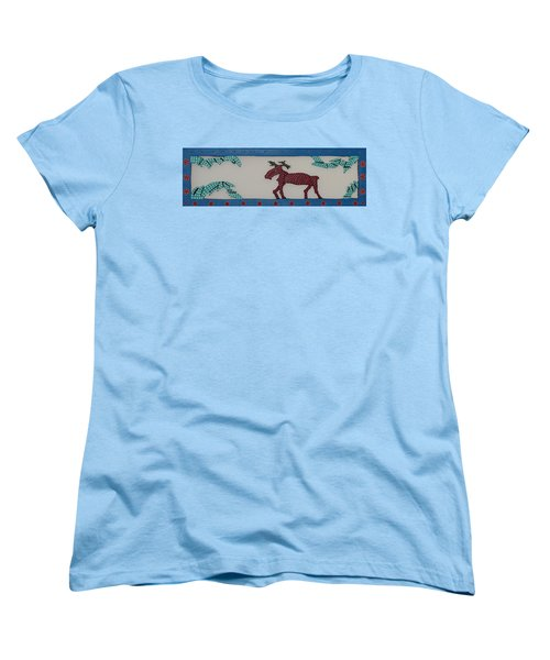 Women's T-Shirt (Standard Cut) featuring the sculpture Moose Coming Home For Christmas by Robert Margetts