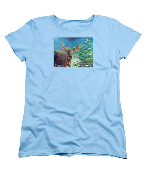 Women's T-Shirt (Standard Cut) featuring the painting Moosey Christmas by LeAnne Sowa