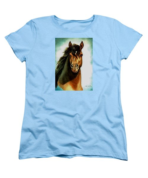 Women's T-Shirt (Standard Cut) featuring the painting Morgan Horse by Loxi Sibley