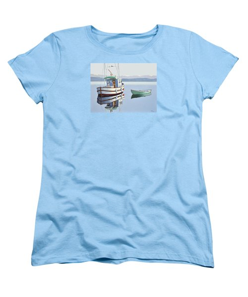 Morning Calm-fishing Boat With Skiff Women's T-Shirt (Standard Cut)