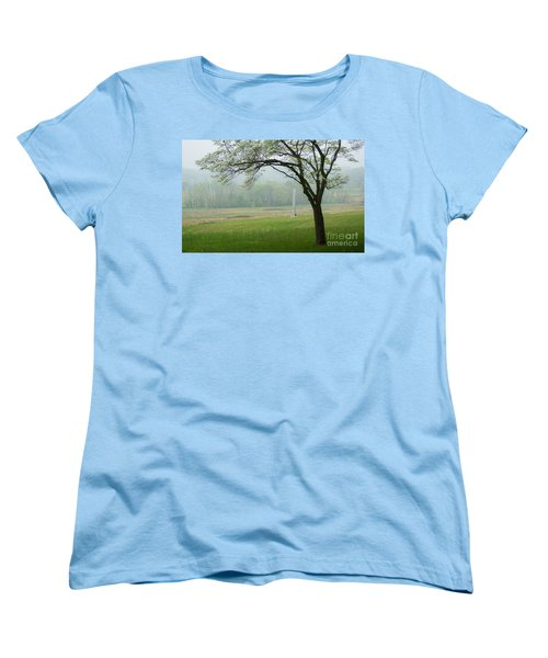 Women's T-Shirt (Standard Cut) featuring the photograph Morning Fog At The Monument by Rima Biswas