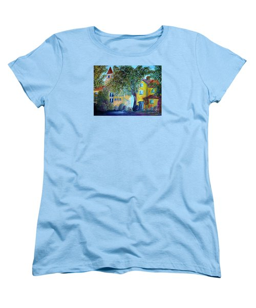Women's T-Shirt (Standard Cut) featuring the painting Morning In Tuscany by Eloise Schneider