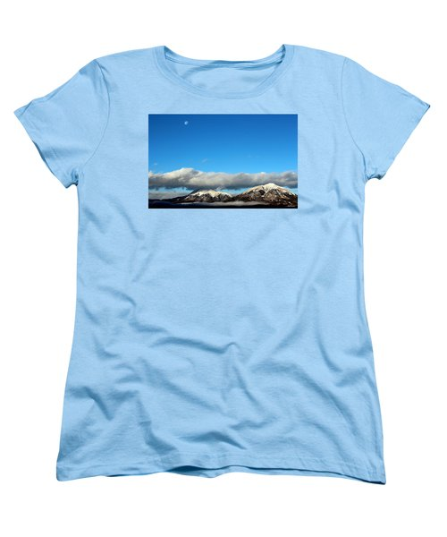 Women's T-Shirt (Standard Cut) featuring the photograph Morning Moon Over Spanish Peaks by Barbara Chichester