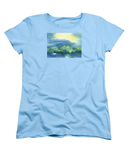 Women's T-Shirt (Standard Cut) featuring the painting Morning Over The Mountain by Frank Bright