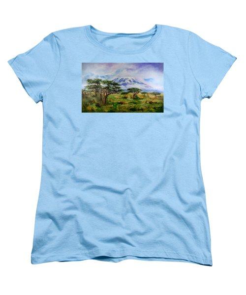 Mount Kilimanjaro Tanzania Women's T-Shirt (Standard Cut) by Sher Nasser