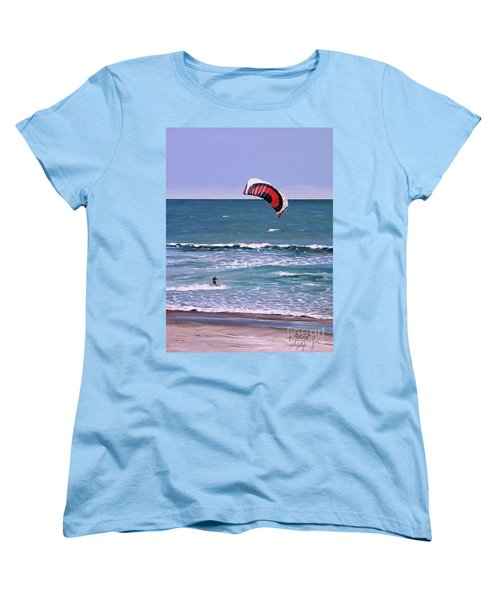 Women's T-Shirt (Standard Cut) featuring the painting Mount Maunganui 160308 by Sylvia Kula
