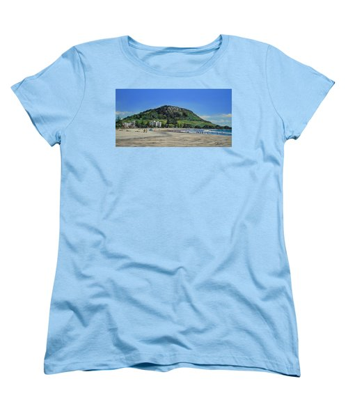 Women's T-Shirt (Standard Cut) featuring the painting Mount Maunganui Beach 151209 by Sylvia Kula