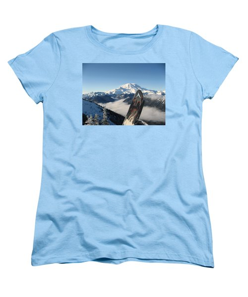 Mount Rainier Has Skis Women's T-Shirt (Standard Cut) by Kym Backland