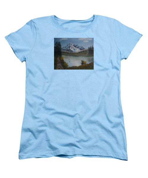 Women's T-Shirt (Standard Cut) featuring the painting Mountain And River by Ian Donley