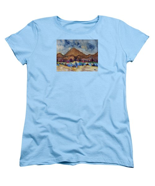 Women's T-Shirt (Standard Cut) featuring the painting Mountain Desert Scene by Connie Valasco