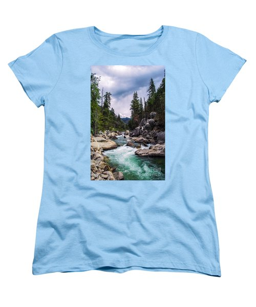 Women's T-Shirt (Standard Cut) featuring the photograph Mountain Emerald River Photography Print by Jerry Cowart