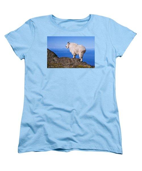 Mountain Goat On Klahane Ridge Women's T-Shirt (Standard Cut) by Jeff Goulden