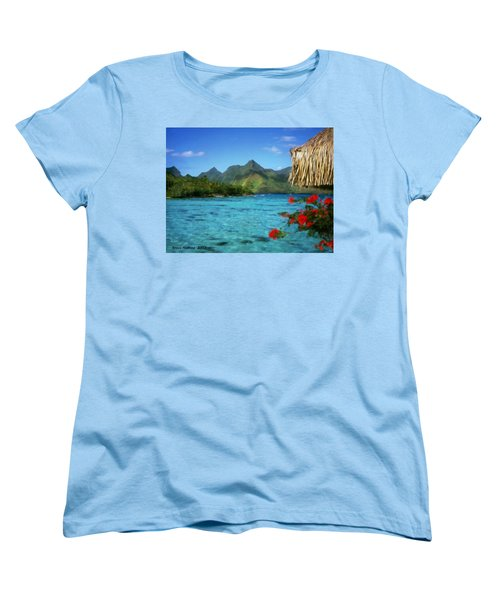 Women's T-Shirt (Standard Cut) featuring the painting Mountain Lake by Bruce Nutting