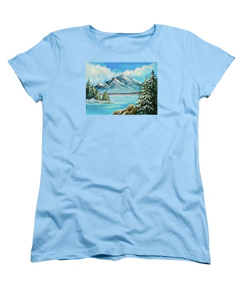 Women's T-Shirt (Standard Cut) featuring the painting Mountain Lake In Winter Original Painting Forsale by Bob and Nadine Johnston