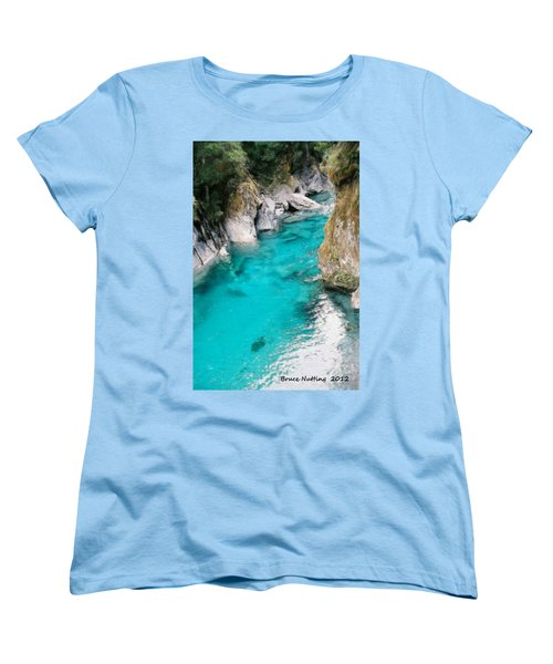 Women's T-Shirt (Standard Cut) featuring the painting Mountain Pool by Bruce Nutting