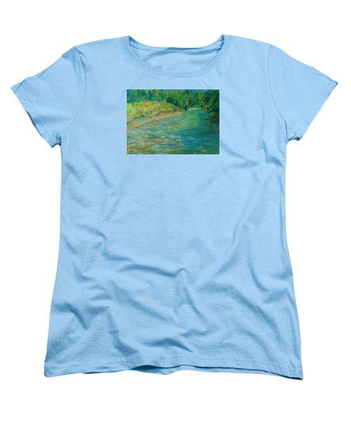 Mountain River In Oregon Colorful Original Oil Painting Women's T-Shirt (Standard Cut) by Elizabeth Sawyer