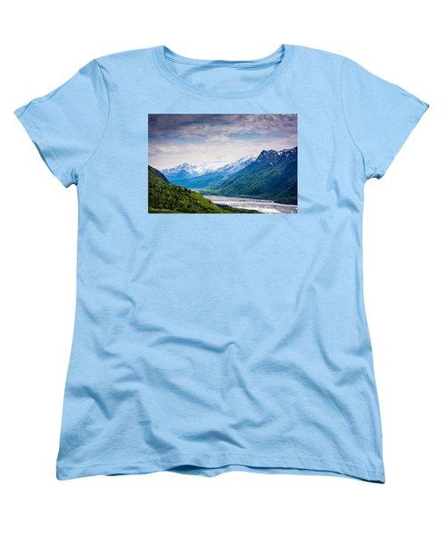 Mountains Along Seward Highway Women's T-Shirt (Standard Cut) by Andrew Matwijec