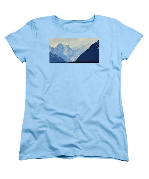 Mountains Near Matanuska Glacier Women's T-Shirt (Standard Cut) by Andrew Matwijec
