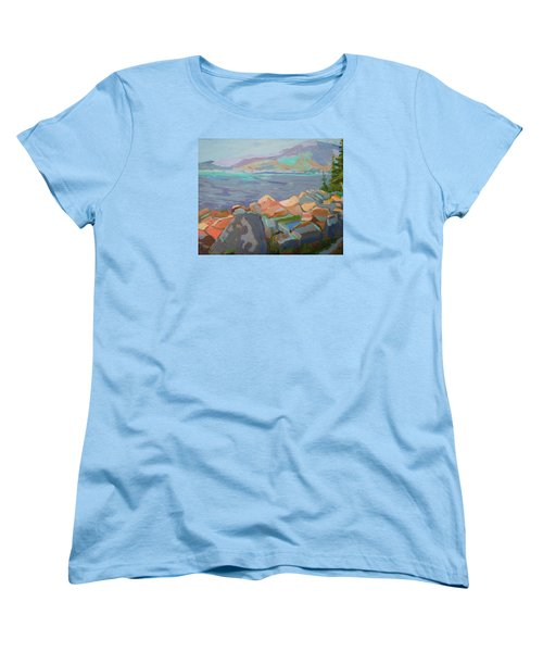 Women's T-Shirt (Standard Cut) featuring the painting Mt. Desert From Schoodic Point by Francine Frank