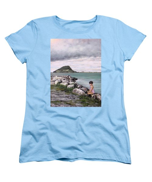 Women's T-Shirt (Standard Cut) featuring the painting Mt Maunganui 140408 by Sylvia Kula