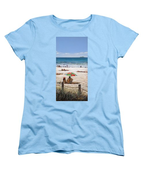 Women's T-Shirt (Standard Cut) featuring the painting Mt Maunganui Beach 090209 by Sylvia Kula