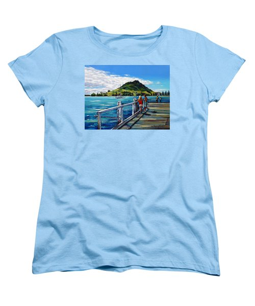 Women's T-Shirt (Standard Cut) featuring the painting Mt Maunganui Pier 140114 by Selena Boron