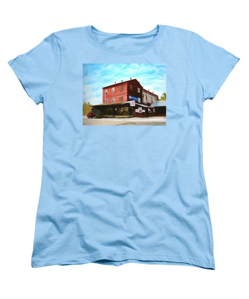 Women's T-Shirt (Standard Cut) featuring the painting Mt. Pleasant Milling Company by Stacy C Bottoms