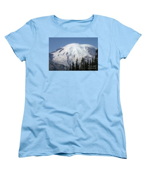 Women's T-Shirt (Standard Cut) featuring the photograph Mt. Rainier In August 2 by Chalet Roome-Rigdon