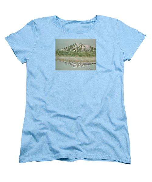 Women's T-Shirt (Standard Cut) featuring the pastel Mt Rainier by Terry Frederick
