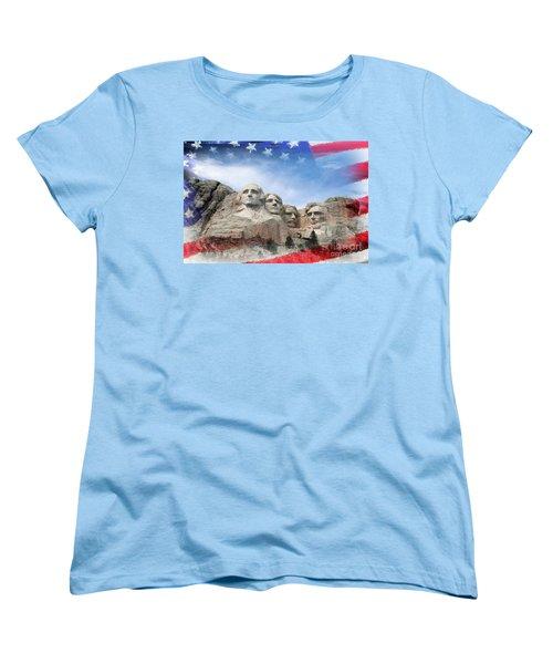 Mt Rushmore Flag Frame Women's T-Shirt (Standard Cut) by David Lawson