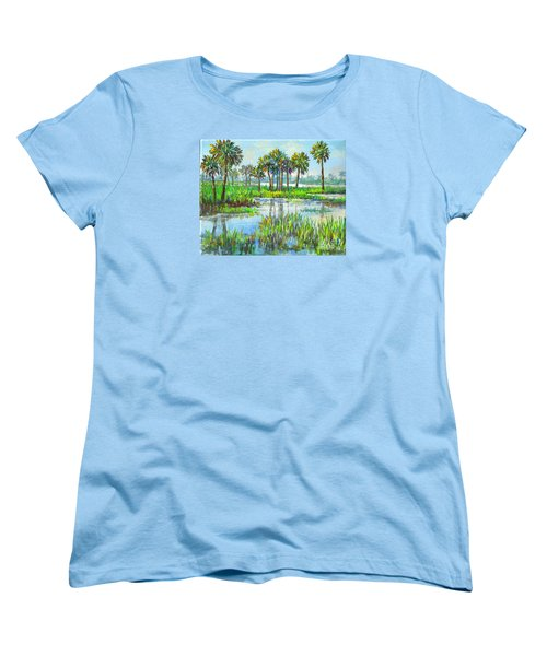 Myakka Lake With Palms Women's T-Shirt (Standard Cut) by Lou Ann Bagnall