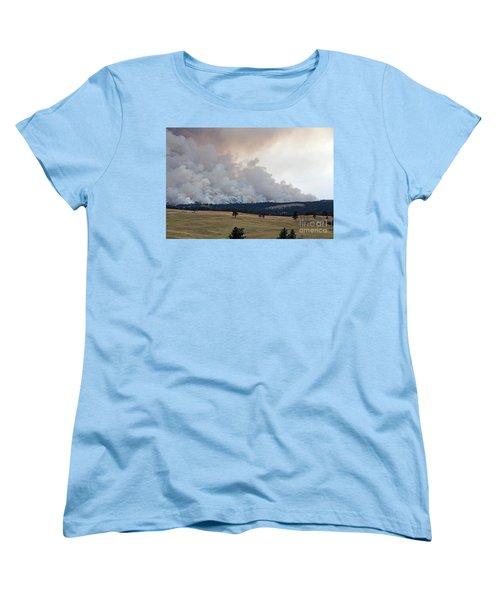 Myrtle Fire West Of Wind Cave National Park Women's T-Shirt (Standard Cut) by Bill Gabbert