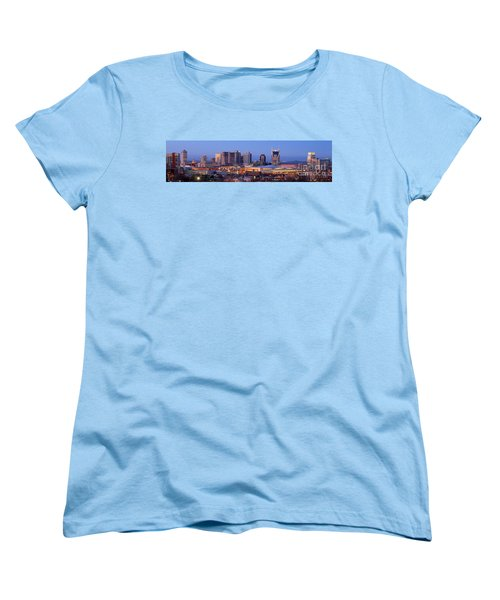 Nashville Skyline At Dusk Panorama Color Women's T-Shirt (Standard Cut) by Jon Holiday