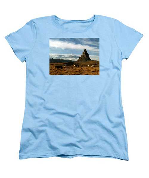 Navajo Horses At El Capitan Women's T-Shirt (Standard Cut) by Jeff Brunton