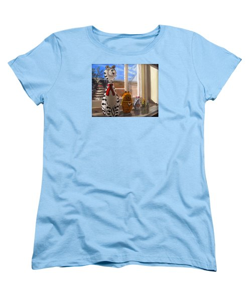 Women's T-Shirt (Standard Cut) featuring the painting Nested Cats by LaVonne Hand