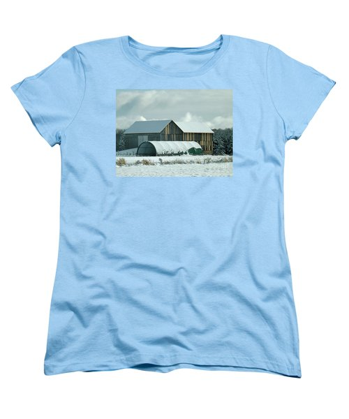 Women's T-Shirt (Standard Cut) featuring the photograph New And Old Barn Planks by Brenda Brown
