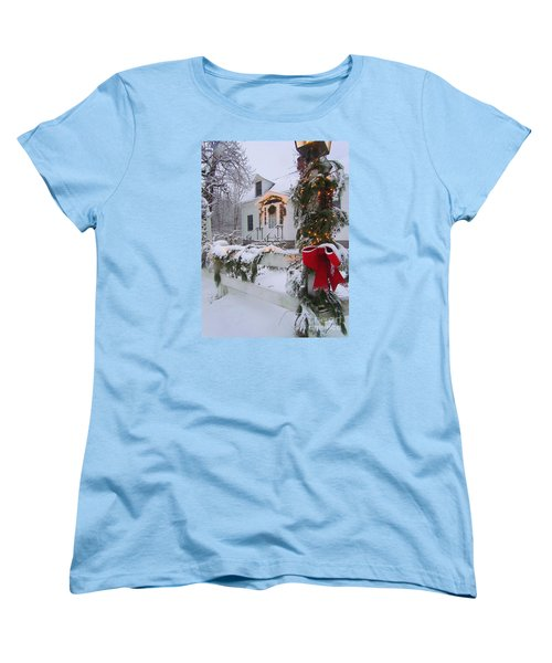New England Christmas Women's T-Shirt (Standard Cut) by Elizabeth Dow