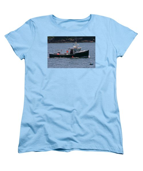 New England Fishing Boat Women's T-Shirt (Standard Cut) by Denyse Duhaime