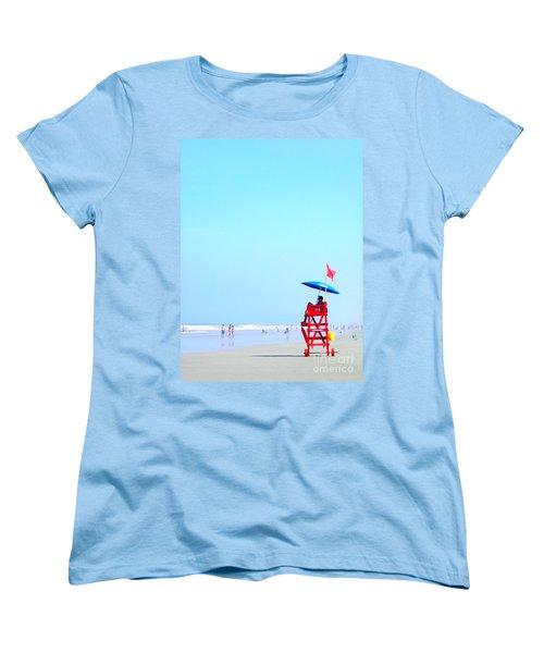 Women's T-Shirt (Standard Cut) featuring the digital art New Smyrna Lifeguard by Valerie Reeves