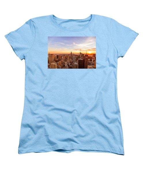 New York City - Sunset Skyline Women's T-Shirt (Standard Cut) by Vivienne Gucwa