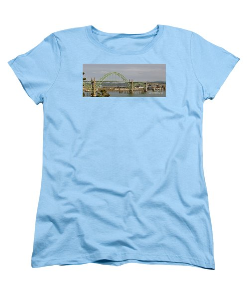 Women's T-Shirt (Standard Cut) featuring the photograph Newport Bay Bridge by Susan Garren