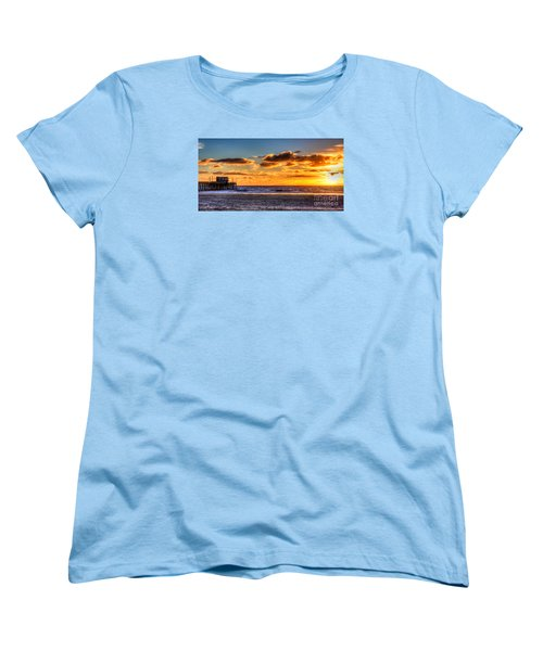 Women's T-Shirt (Standard Cut) featuring the photograph Newport Beach Pier - Sunset by Jim Carrell