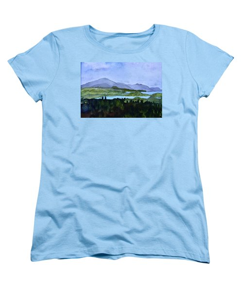 Women's T-Shirt (Standard Cut) featuring the painting Newport From Brownington Lookout by Donna Walsh