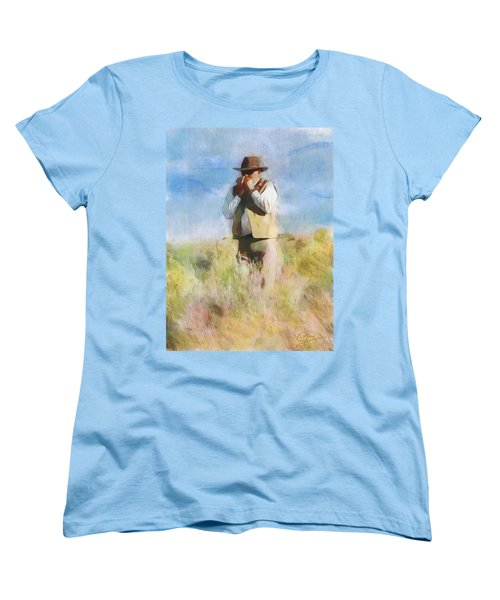 Women's T-Shirt (Standard Cut) featuring the painting No Useless Cares by Greg Collins