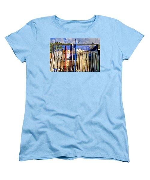 North Shore Surf Shop Women's T-Shirt (Standard Cut) by DJ Florek