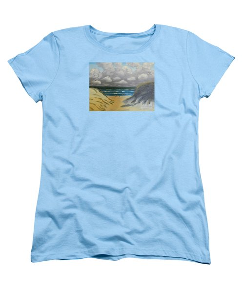 Women's T-Shirt (Standard Cut) featuring the painting North Windang Beach by Pamela  Meredith