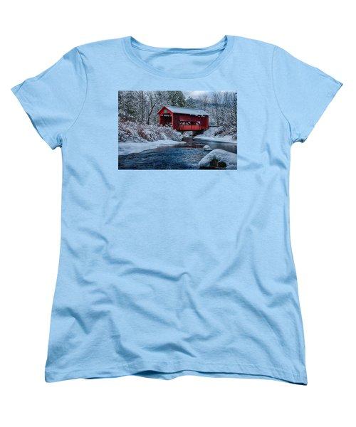 Northfield Vermont Covered Bridge Women's T-Shirt (Standard Cut) by Jeff Folger