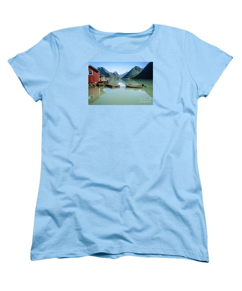 Reflection Of A Boat And A Boathouse In A Fjord In Norway Women's T-Shirt (Standard Cut) by IPics Photography