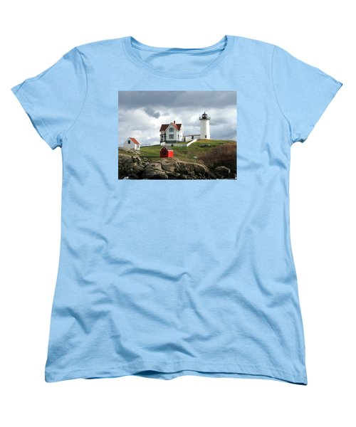 Nubble Lighthouse Women's T-Shirt (Standard Cut) by Nancy Landry